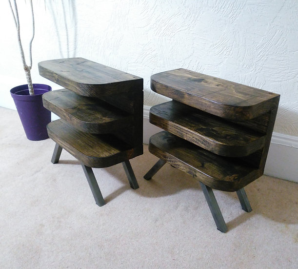 480 : Pair of side table /Bedside tables with curved shelf front and steel base