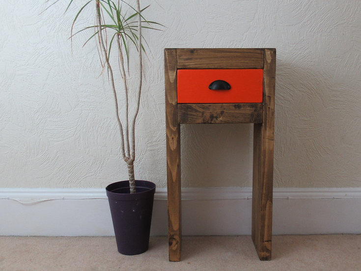 503: Narrow chunky wood hallway console table with drawer