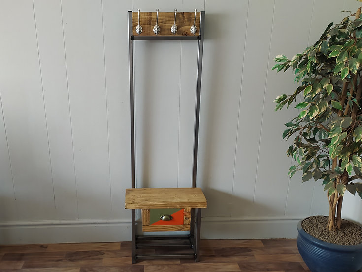 622  : Coat stand narrow with  small drawer, 4 satin hooks, Bijou coat stand wit