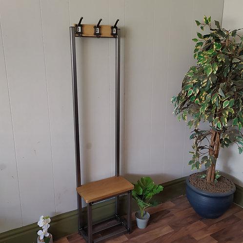 488 : Oak Slim coat stand, solid Oak seat and backboard numbered hooks