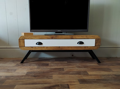 624 : Tv stand narrow retro style with large drawer black frame