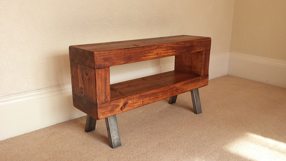 315: Slim chunky wood tv stand with steel legs