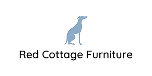 Red cottage furniture with picture of a whippet in Blue