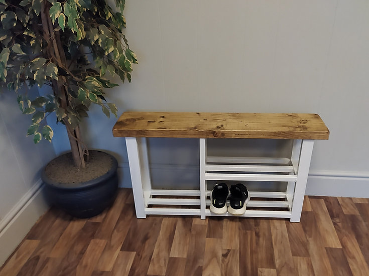 602 : Shoe & Welly boot rack, two shelf hallway bench seat in White