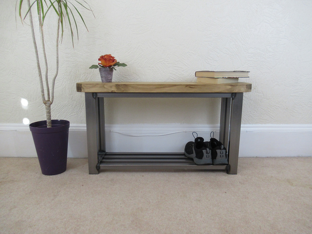 Single shelf shoe rack bench which is also available with painted base