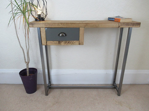 562 : Console table with small painted drawer steel frame