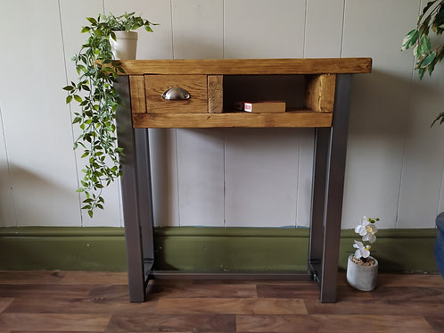 489 : Console table chunky wood with small drawer contemporary rustic ind