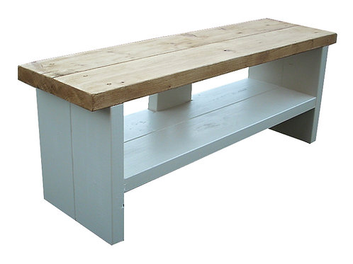 152 - Tv stand rustic antique pine top painted base