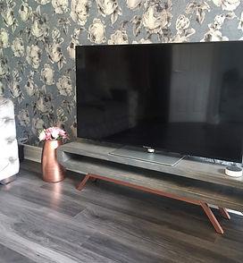 Grey wash tv stand bright copper base