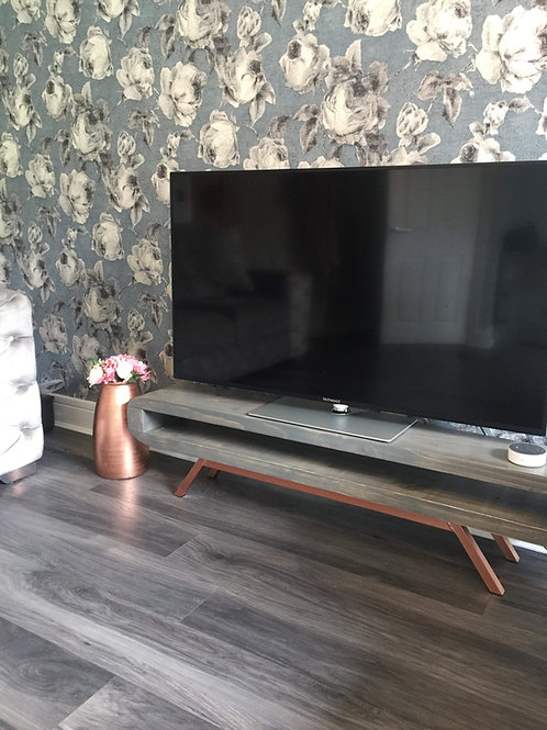 526 : Tv stand grey wash wax finish narrow retro style tv table