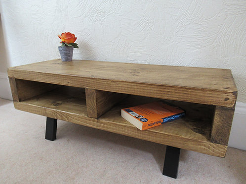 500 - Tv stand contemporary rustic industrial black legs