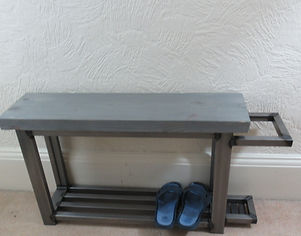 Shoe storage bench with space at the end for umbrella with grey seat