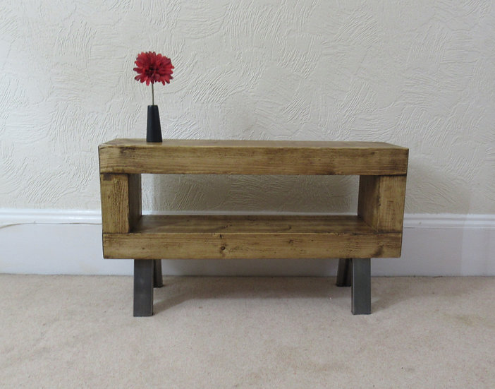 315M: Slim chunky wood tv stand with steel legs