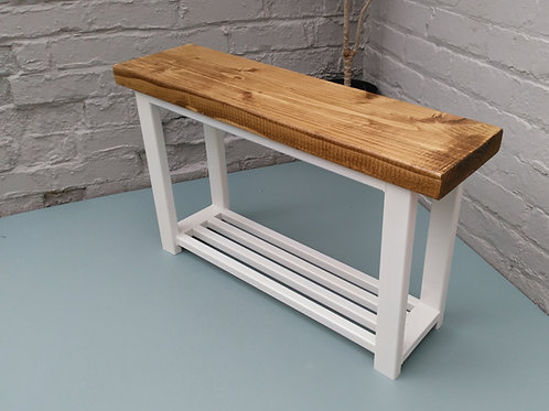 340: Hallway bench with shoe rack to base in White