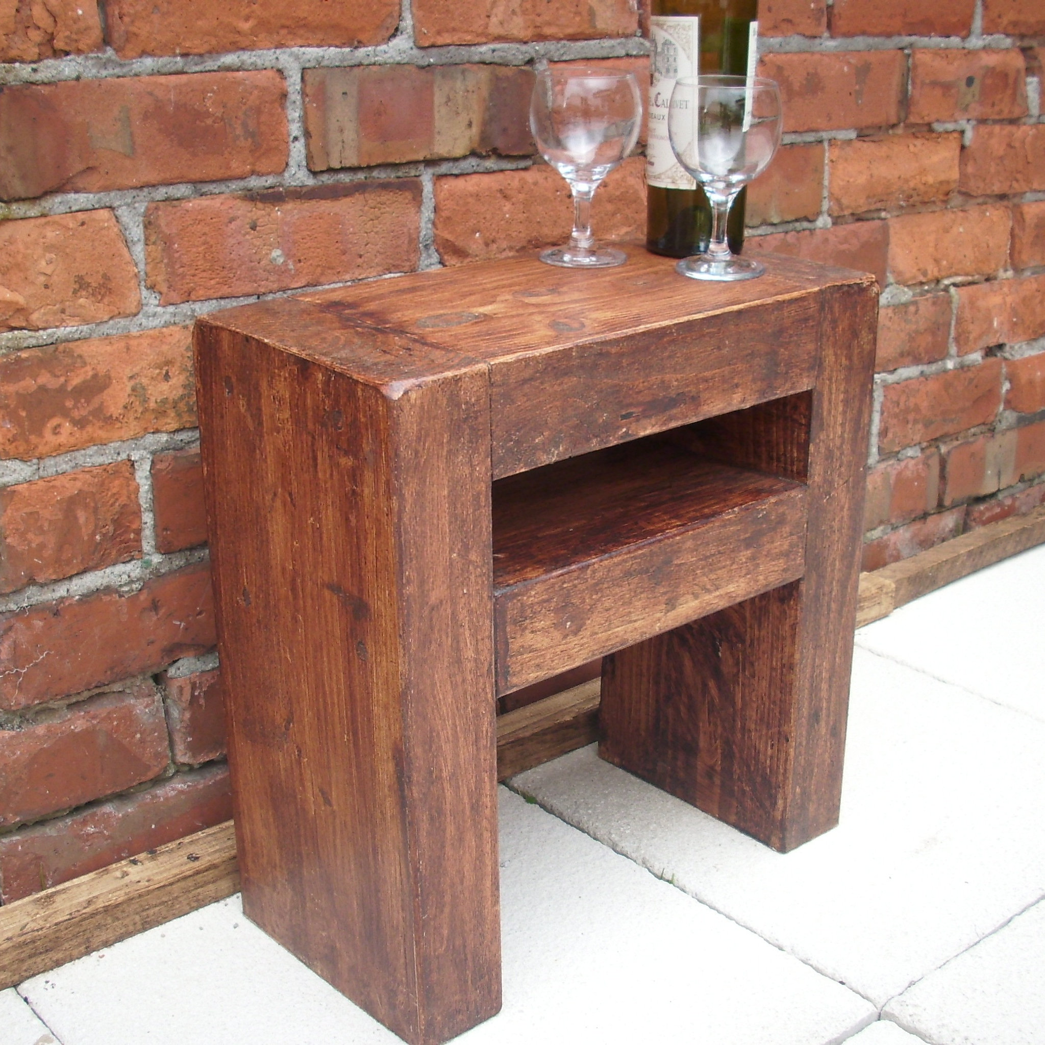 Bedside Table Rustic Wood