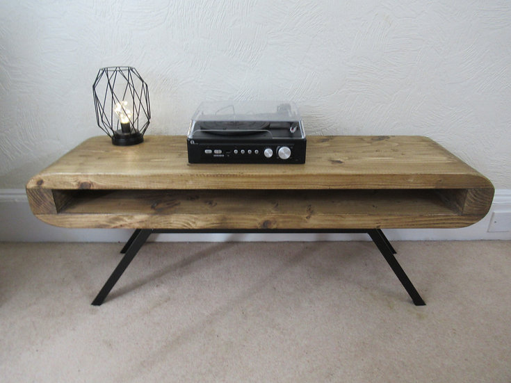 607: Retro style deeper tv table finished with black or natural steel  frame
