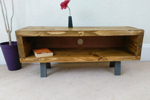 309: Tv Stand rustic industrial tv unit with cable tidy