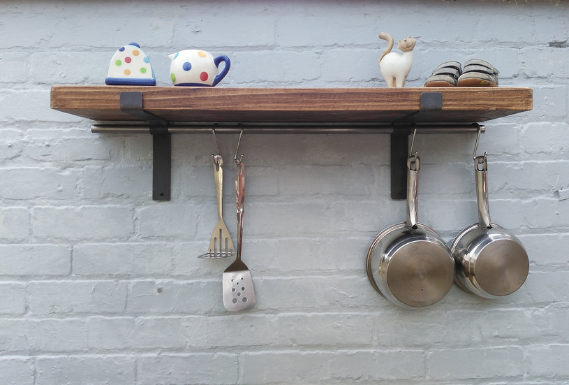 273: Rustic shelve pot /pan hanging rail solid wood