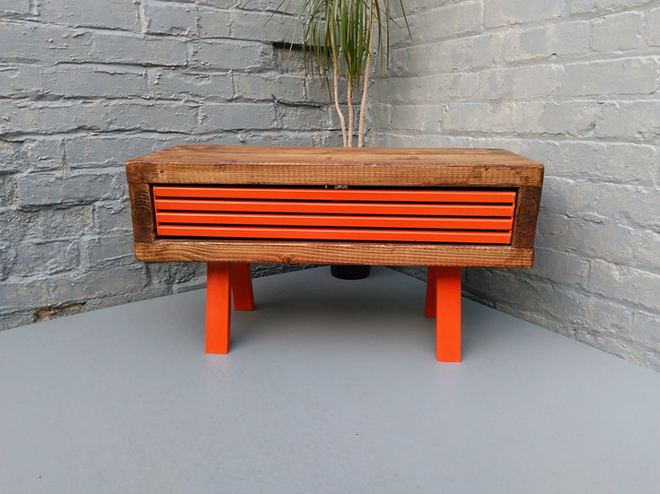 423 :Tall tv stand funky orange grid front  industrial style