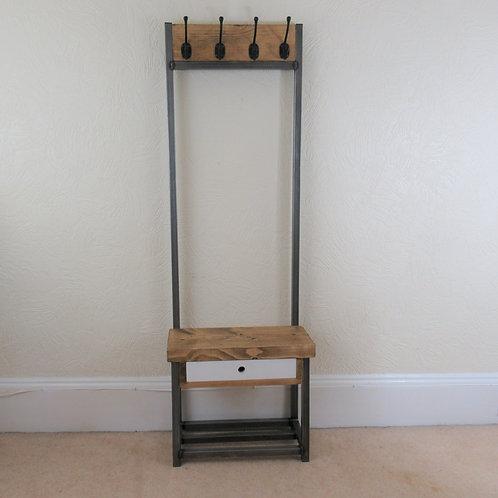 501 : Coat stand narrow hallway rack 4 black hooks Bijou coat stand with drawer