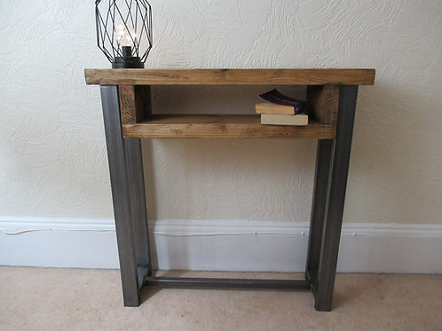 540 : Console table chunky wood with small shelf contemporary rustic industrial