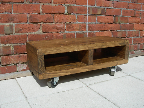593 : Low Tv stand with cast iron swivel wheels sizes for large tv's