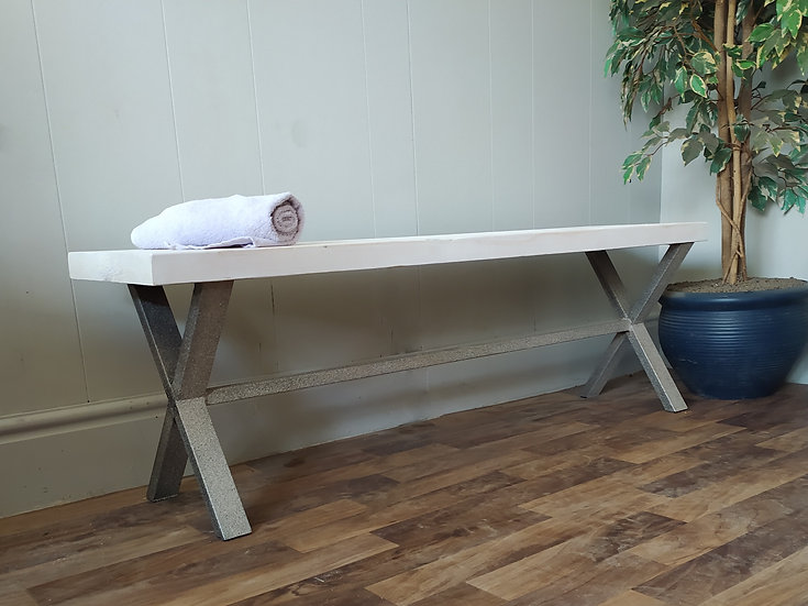 616 : X frame bench with  Whitewash seat and stone effect base