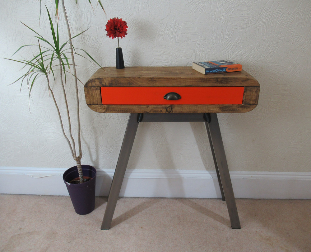 Console table with full length drawer in Orange
