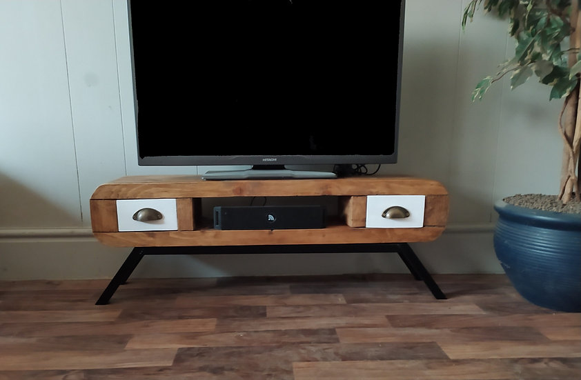 637 : Tv stand narrow retro style with 2 small drawers black frame