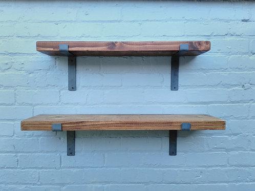 281:  Rustic chunky solid wood Shelves & 17 cm brackets
