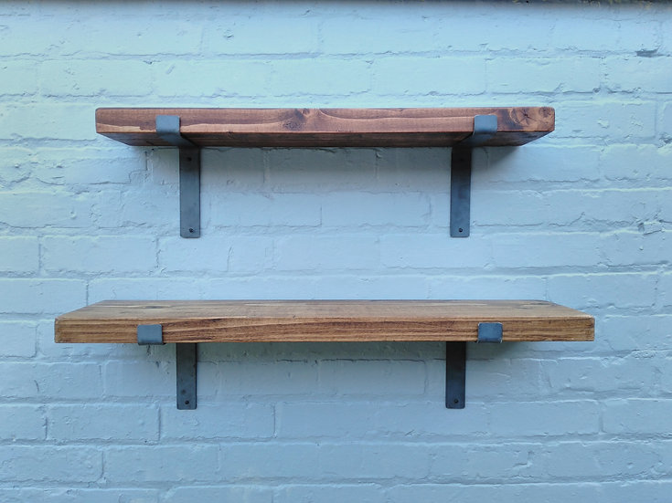 281:  Rustic chunky solid wood Shelves & 17 cm brackets