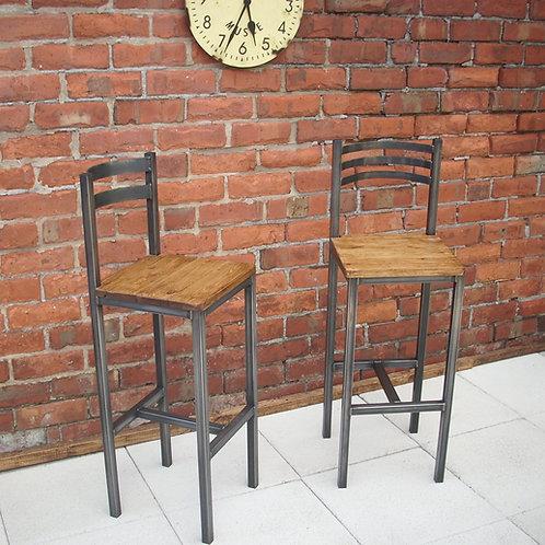 193: Bar stool / chair rustic industrial bar stool
