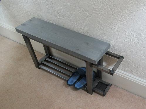 573 - Hallway bench shoe storage with umbrella stand Greywash seat