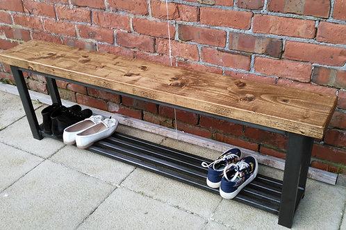 271: Large Hallway bench with grid base shoe rack 150 cm