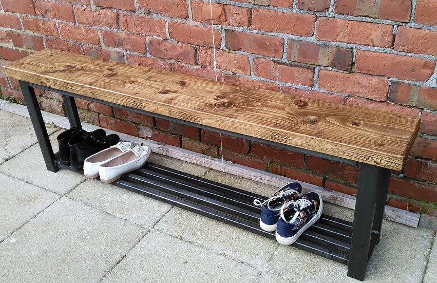 271: Large Hallway bench with grid base shoe rack 150 cm