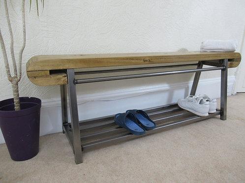 478: Shoe bench, large hallway unique design bench with storage shelf