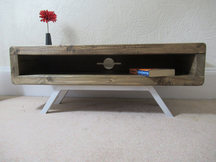 412: Tv stand enclosed back with cable tidy and splayed leg retro style base