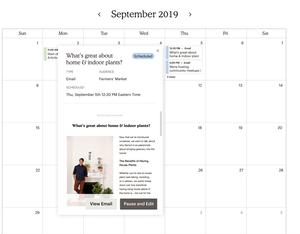 Et screenshot af MailChimps kalenderfunktion