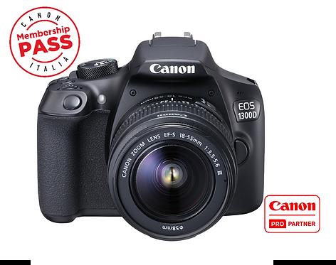 KIT Fotocamera Canon 1300d con 18-55 is ii + borsa + sd 16gb