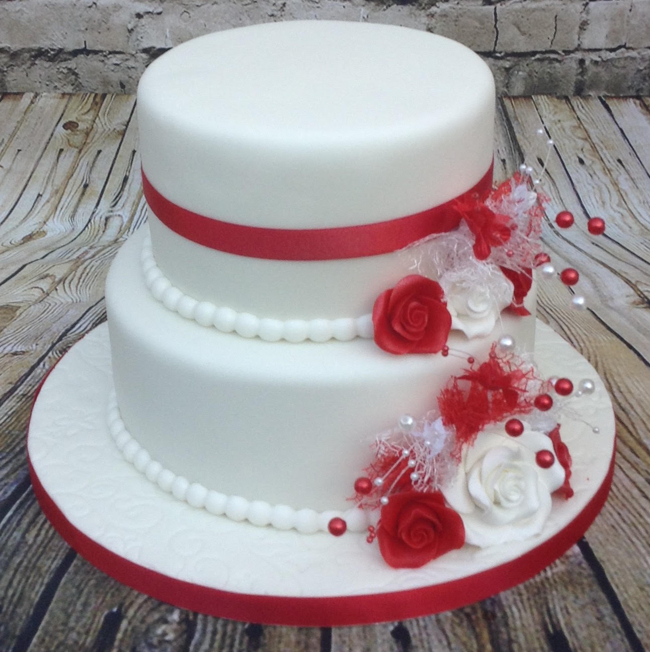 2 Tier Red White Themed Wedding Cake