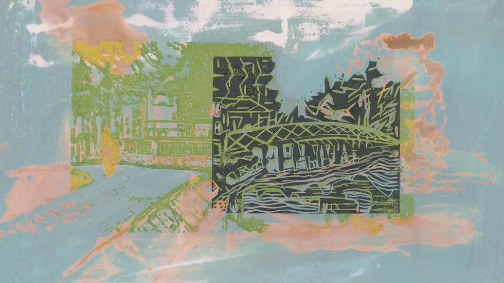 Puente Hanoi – linóleo. De la serie Miniprints.  14 x 20,5 cm. 2020FAI25.jpg