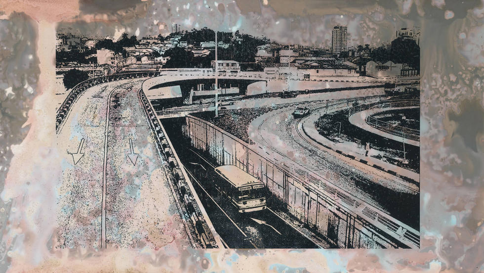 Puente Cali 5ta – Láser. De la serie Miniprints. 12,5 x 20,4 cm. 2020