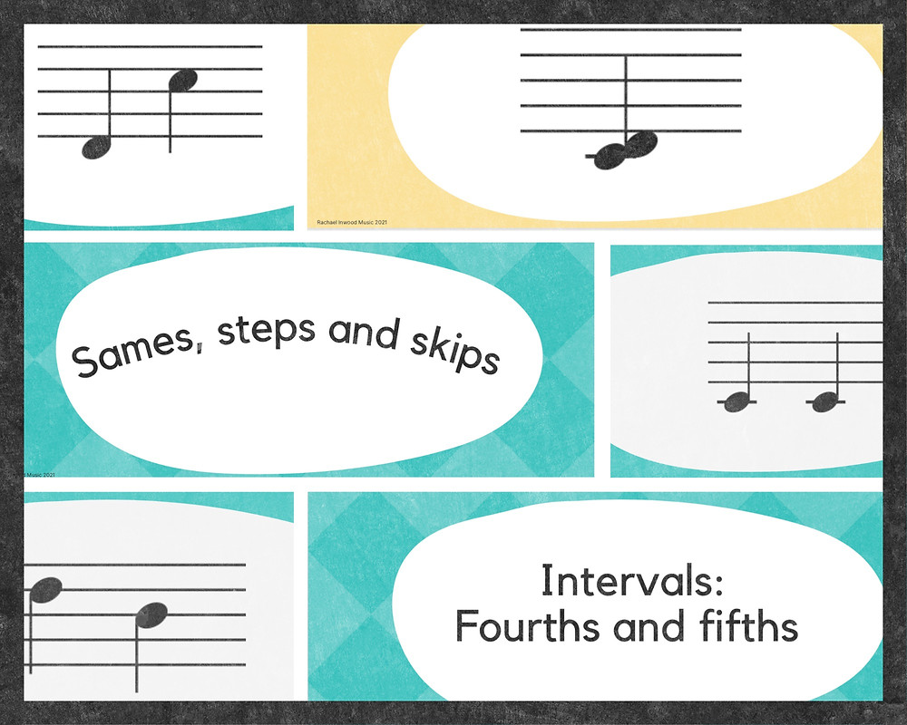 A selection of colourful interval flashcards