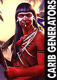 Carib Indian warrior. Carib generators logo.