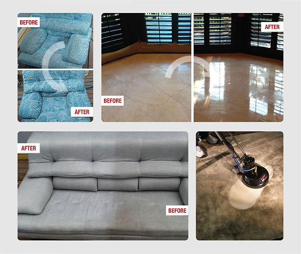 Upholstery, marble and carpet before and after photos