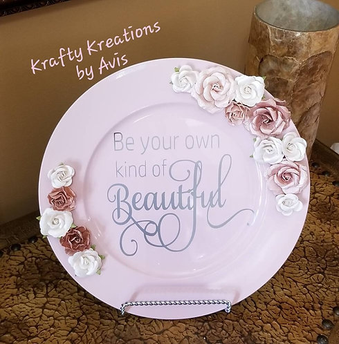Rose Pink Charger Plate with Inspirational Quote, Paper Flowers and Stand