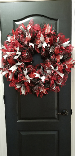 Deco Mesh Wire Wreath in Red, Black, Silver, and Red/Black Plaid