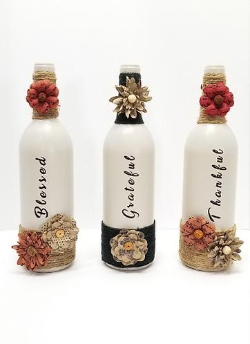 Thankful, Grateful, Blessed Wine Bottle Art