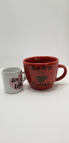 "10 oz. Brick Red Mug ""But First Coffee"""