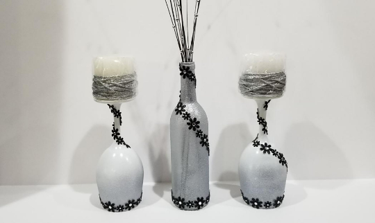 Elegant White, Silver & Black Wine Bottle and Glass Set with Candle